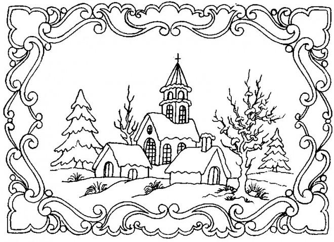 Coloriage paysage adulte dessin gratuit imprimer - Dessiner un paysage d hiver ...