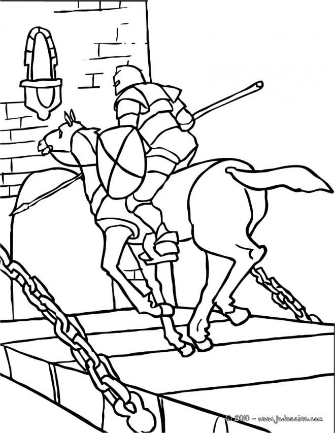 Coloriage et dessins gratuits Chevalier sur Le Pont à imprimer