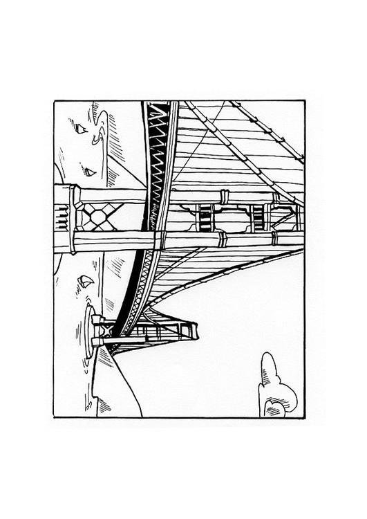 Coloriage et dessins gratuits Paysage de Pont à imprimer