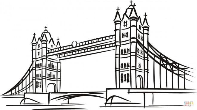 Coloriage Pont à Londres Dessin Gratuit à Imprimer