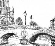 Coloriage Pont ancien en Europe
