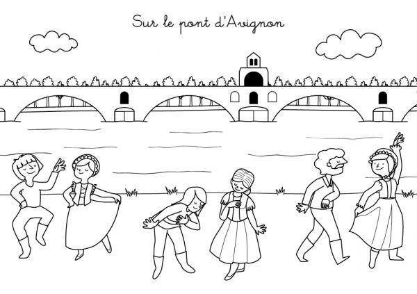Coloriage et dessins gratuits Pont d'Avignon à imprimer
