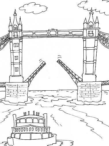 Coloriage et dessins gratuits Pont de Londres simple à imprimer