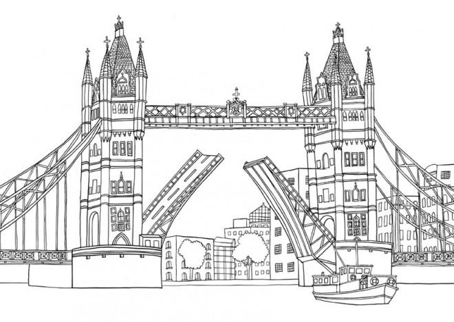 Coloriage Pont De Londres Stylisé Dessin Gratuit à Imprimer