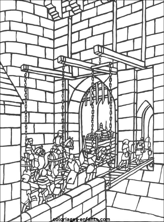 Coloriage et dessins gratuits Pont de Moyen Âge à imprimer