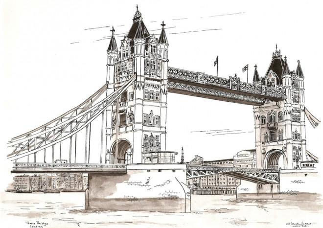 Coloriage Pont En Angleterre Dessin Gratuit à Imprimer