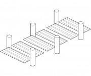 Coloriage Pont facile en bois