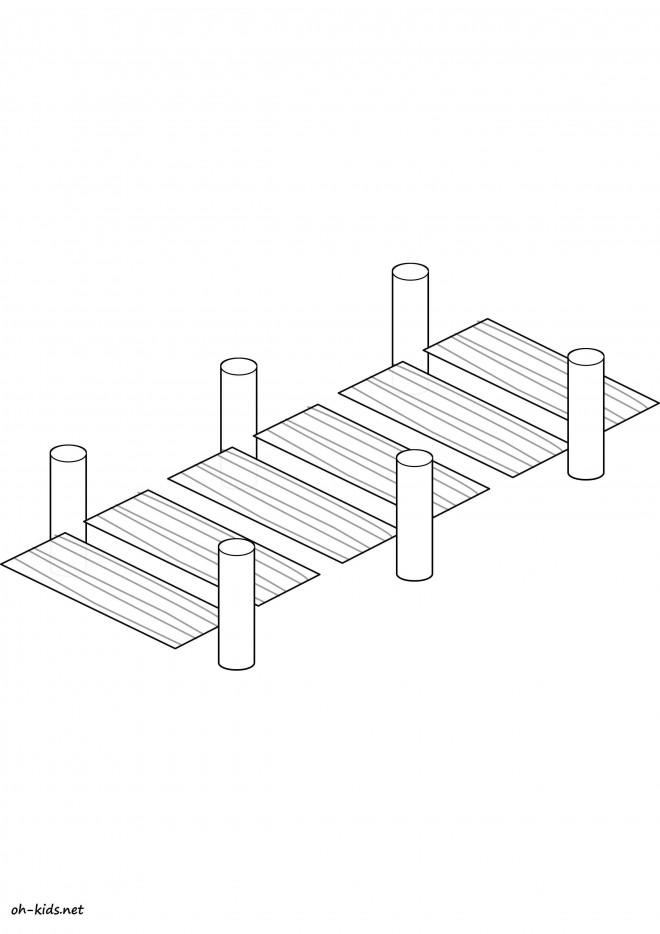 Coloriage et dessins gratuits Pont facile en bois à imprimer
