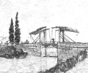 Coloriage Pont réaliste en noir et blanc