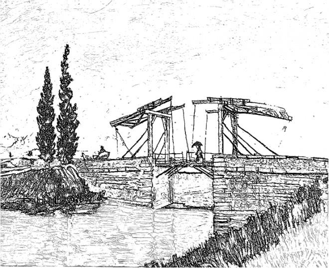 Coloriage et dessins gratuits Pont réaliste en noir et blanc à imprimer
