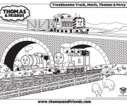 Coloriage Thomas Le Train sur le Pont