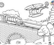 Coloriage Thomas sur Le Pont dessin animé