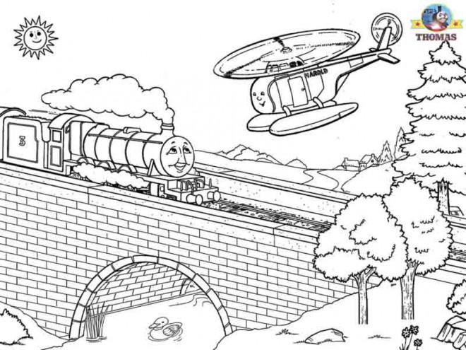 Coloriage et dessins gratuits Thomas sur Le Pont dessin animé à imprimer