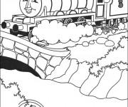 Coloriage et dessins gratuit Train magique sur Le Pont à imprimer