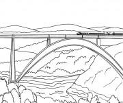 Coloriage et dessins gratuit Train sur Pont à imprimer