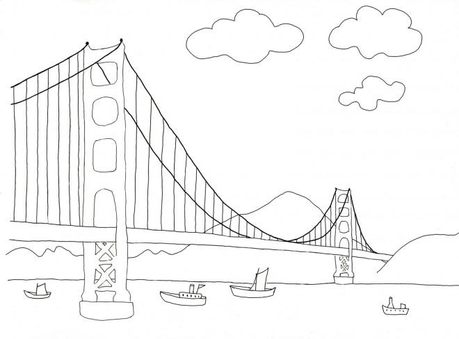 Coloriage et dessins gratuits Un Pont en perspective à imprimer