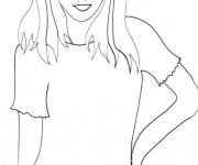 Coloriage Portrait actrice simple