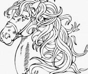 Coloriage et dessins gratuit Portrait de Cheval magique à imprimer