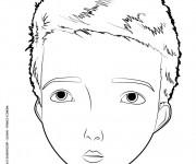 Coloriage Portrait de Garçon vecteur