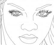 Coloriage Portrait de Rihanna