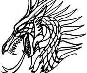 Coloriage Portrait Dragon chinois