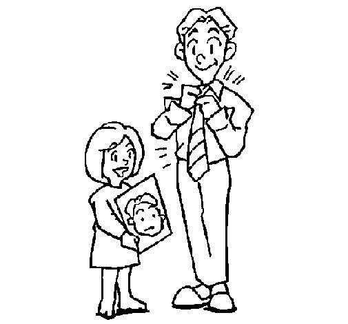 Coloriage et dessins gratuits Portrait Fille et Papa à imprimer