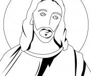 Coloriage et dessins gratuit Portrait Jésus à imprimer