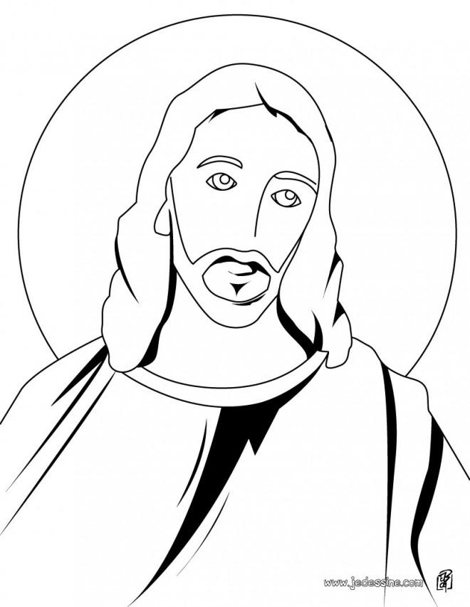 Coloriage et dessins gratuits Portrait Jésus à imprimer