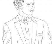 Coloriage Portrait Jeune Homme en noir