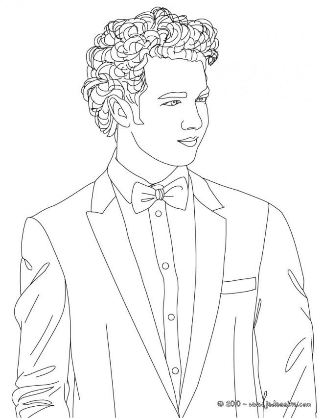 Coloriage et dessins gratuits Portrait Jeune Homme en noir à imprimer