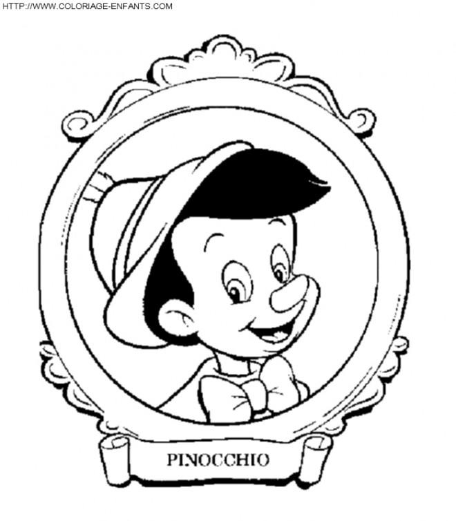 Coloriage et dessins gratuits Portrait Pinocchio à imprimer