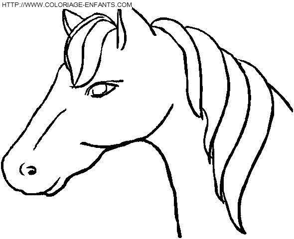 Coloriage et dessins gratuits Tête de Cheval simple à imprimer