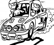 Coloriage Chauffeur et Guide Rallye