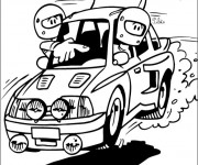 Coloriage et dessins gratuit Rallye humoristique à imprimer