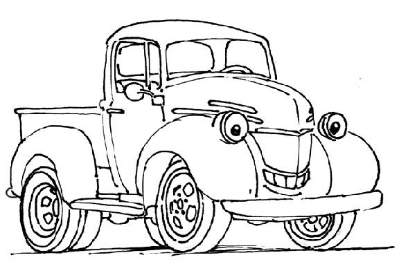 Coloriage et dessins gratuits Une Camionnette qui sourit à imprimer