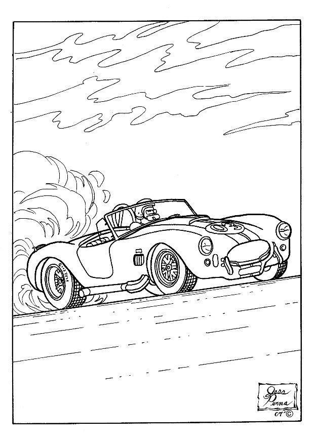 Coloriage et dessins gratuits Voiture de Rallye décapotable à imprimer