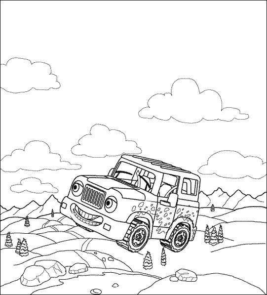 Coloriage et dessins gratuits Voiture de Rallye Jeep à imprimer