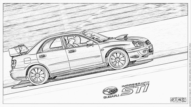 Coloriage et dessins gratuits Voiture de Rallye Subaru réaliste à imprimer