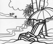 Coloriage et dessins gratuit La Plage Relaxante à imprimer