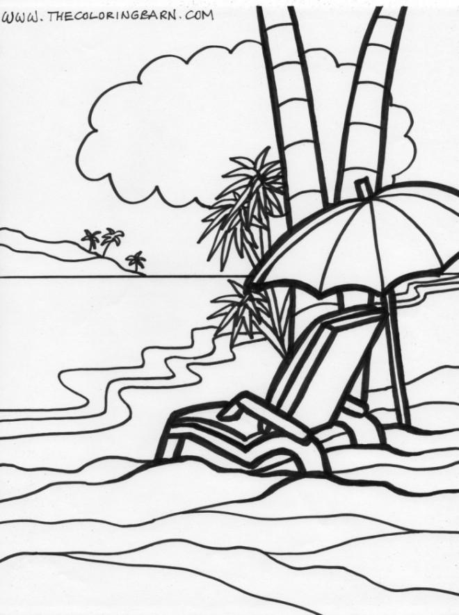 Coloriage et dessins gratuits La Plage Relaxante à imprimer