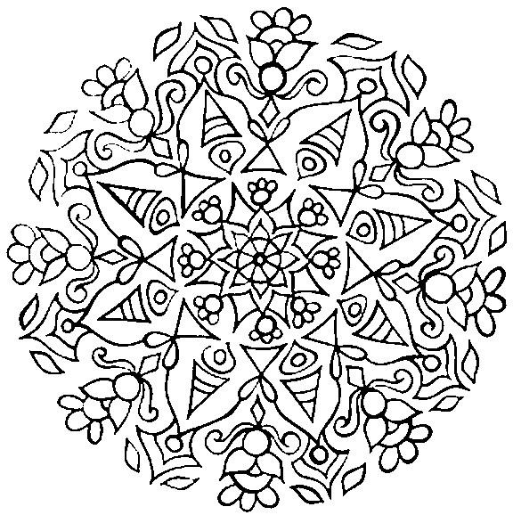 Coloriage et dessins gratuits Mandala difficile abstrait à imprimer