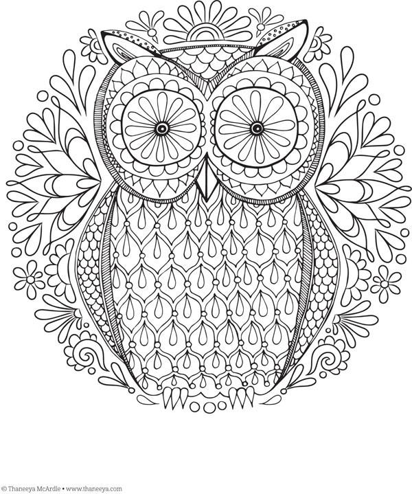 Coloriage et dessins gratuits Mandala Hibou Relaxant à imprimer