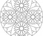 Coloriage et dessins gratuit Mandalas Fleurs pour relaxer à imprimer