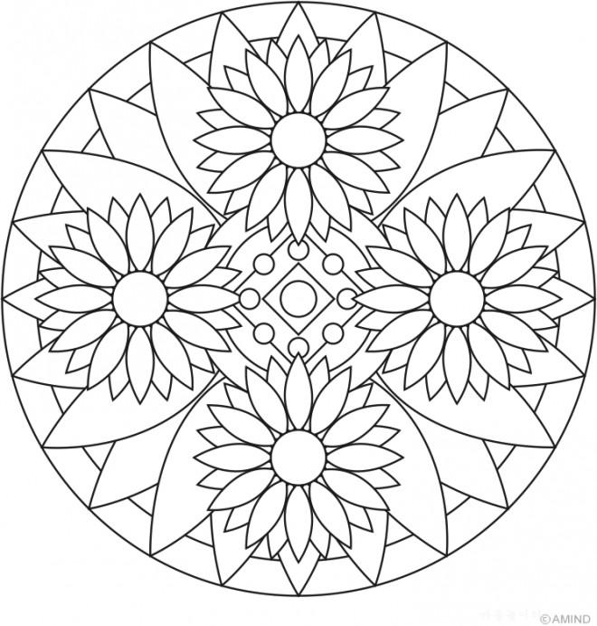 Coloriage et dessins gratuits Mandalas Fleurs pour relaxer à imprimer