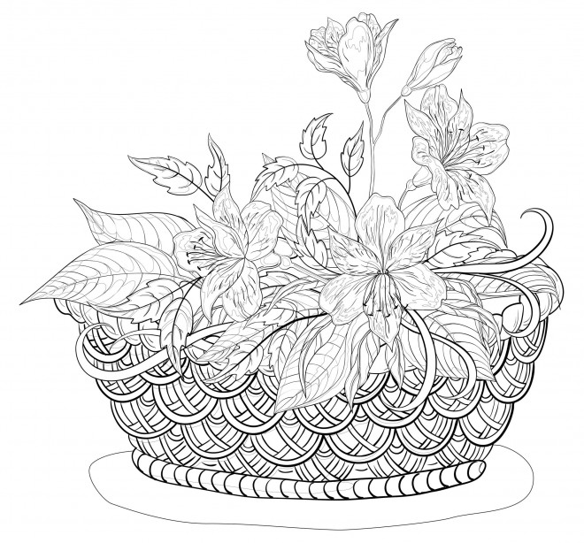 Coloriage et dessins gratuits Panier Fleurs  pour adulte à imprimer