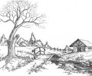 Coloriage et dessins gratuit Paysage de Campagne au crayon à imprimer