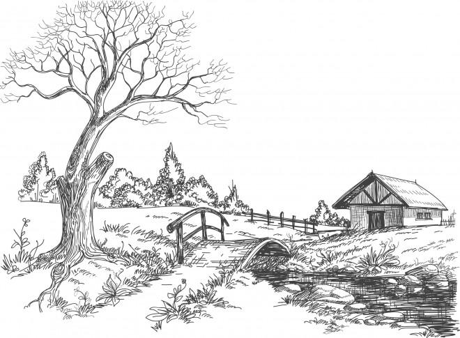 Coloriage et dessins gratuits Paysage de Campagne au crayon à imprimer
