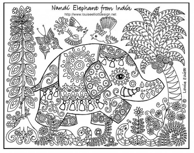 Coloriage et dessins gratuits Relaxant Éléphant Indien à imprimer