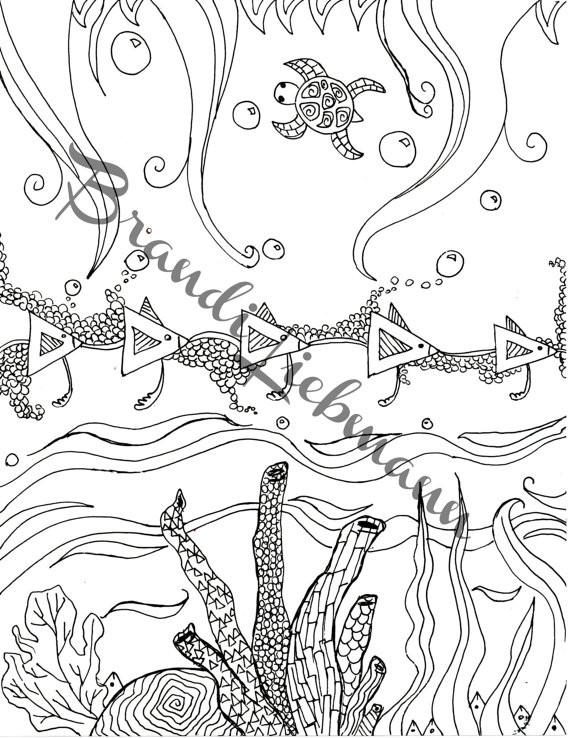 Coloriage et dessins gratuits Relaxant Fond Marin à imprimer