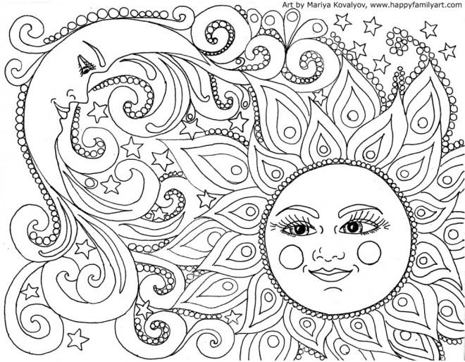 Coloriage Relaxant Lune Et Soleil Dessin Gratuit  U00e0 Imprimer